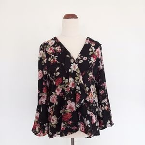 Caroline Morgan Size 12 Black Floral Top